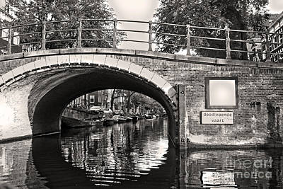 Amsterdam Canal Bridge In Sepia Print by Gregory Dyer