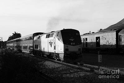 Amtrak Trains At The Niles Canyon Railway In Historic Niles District California . 7d10857 . Bw Print by Wingsdomain Art and Photography