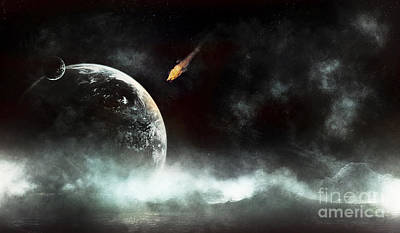 Collision Of Worlds Digital Art - An Abandoned Planet About To Get Hit by Tomasz Dabrowski