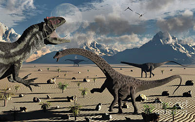 An Allosaurus Confronts A Small Group Print by Mark Stevenson