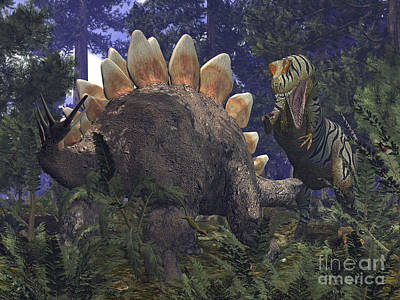 An Allosaurus Stumbles Upon A Grazing Print by Walter Myers