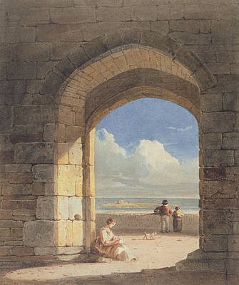 Northumberland Painting - An Arch At Holy Island - Northumberland by John Varley