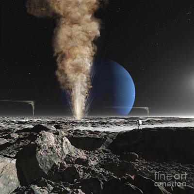 Geyser Digital Art - An Astronaut Observes The Eruption by Ron Miller