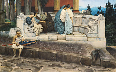 Alma-tadema Sir Lawrence 1836-1912 Painting - An Exedra by Sir Lawrence Alma-Tadema
