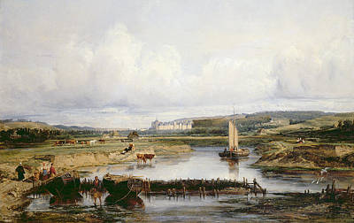 An Extensive River Landscape With A View Of The Chateau D'amboise Print by Victor-Marie-Felix Danvin
