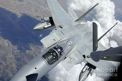 An F-15 Eagle Pulls Away From A Kc-135 Print by Stocktrek Images