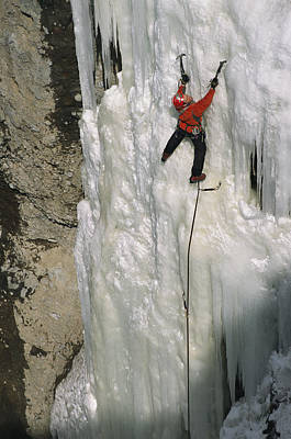 An Ice Climber Tackling The Formation Print by Bobby Model