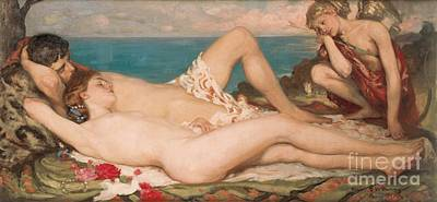 Sleeping Cupid Painting - An Idyll by Rupert Charles Wolston Bunny