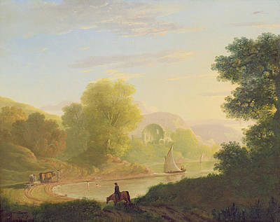 Horseback Painting - An Imaginary Coast Scene - With The Temple Of Venus At Baiae by Thomas Jones
