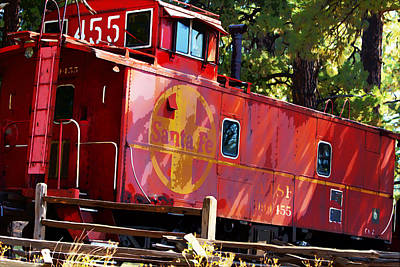 Old Caboose Digital Art - An Old Caboose Painterly by Phyllis Denton