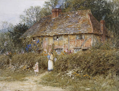 An Old Surrey Cottage Print by Helen Allingham