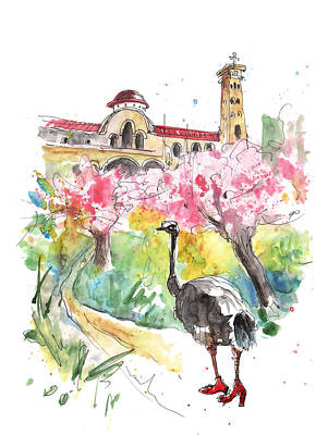 Ostrich Drawing - An Ostrich Going To Church In Cyprus by Miki De Goodaboom