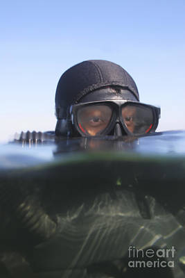 An Over Under View Of A Navy Seal Print by Michael Wood