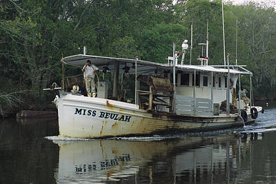 An Oyster Boat Plies The Waters Print by Medford Taylor