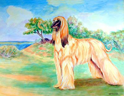 Anastazi Sun - Afghan Hound Print by Lyn Cook
