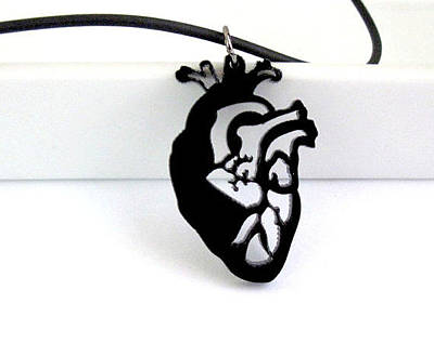 Anatomical Heart Unisex Pendant Necklace Original by Rony Bank