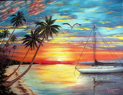 Painting - Anchored At Sunset by Riley Geddings