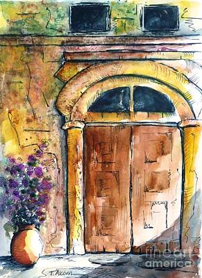 Ancient Door Of Greece Print by Therese Alcorn