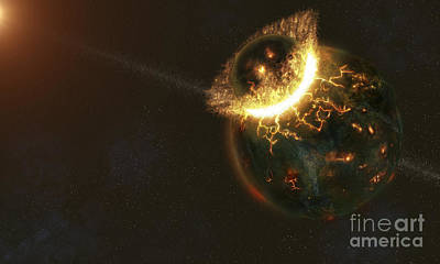 Collision Of Worlds Digital Art - Ancient Earth Impact by Fahad Sulehria