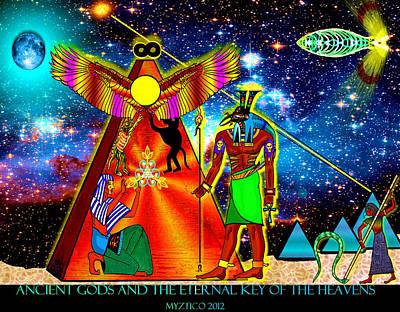 Ancient Gods Print by Myztico Campo