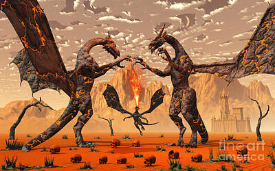 Problems Digital Art - Ancient Lava Dragons Born Of Fire by Mark Stevenson