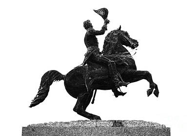 Andrew Jackson Statue Jackson Square French Quarter New Orleans Glowing Edges Digital Art Print by Shawn O'Brien