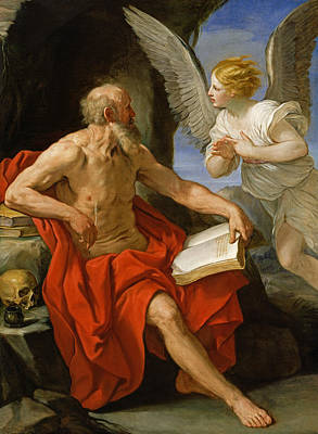 1640 Painting - Angel Appearing To St. Jerome by Guido Reni