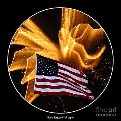 Fireworks Photograph - Angel Fireworks And American Flag by Rose Santuci-Sofranko
