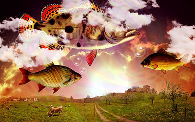 Landscapes Digital Art - Angel Fish by Mark Ashkenazi