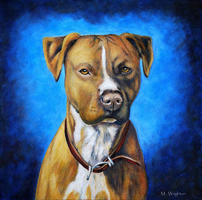 Pitbull Painting - American Staffordshire Terrier Dog Painting by Michelle Wrighton