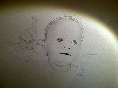 Baby Angel Drawing - Angel by Kat At illustraat