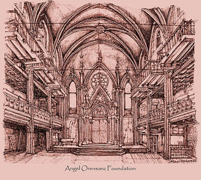 Installation Art Drawing - Angel Orensanz Centre In Pink  by Building  Art