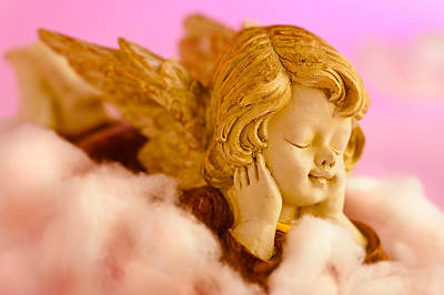 Angel Resting On Clouds And Enjoying The Sun Print by Ulrich Schade