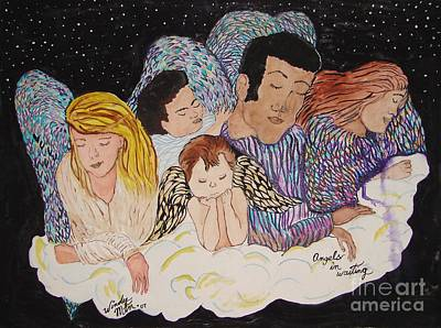 Baby Angel Drawing - Angels In Waiting by Windy Mountain