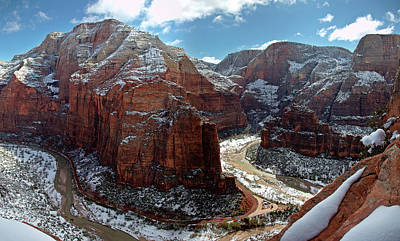 Angels Landing View From Top Print by Daniel Osterkamp