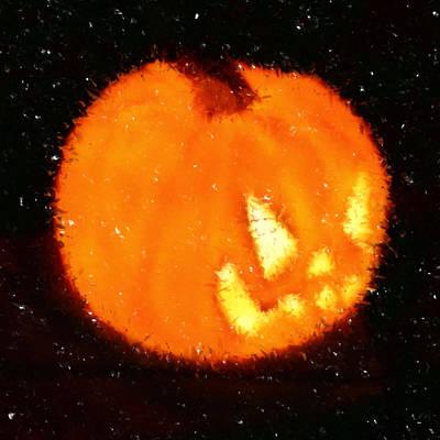Goblin Digital Art - Angry Pumpkin by Richard De Wolfe