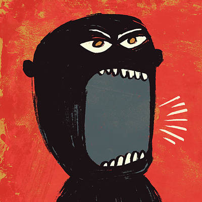 Angry Shout Man Illustration Print by Don Bishop