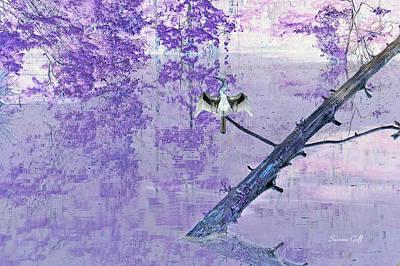 Anhinga Digital Art - Anhinga Japanese Style by Suzanne Gaff