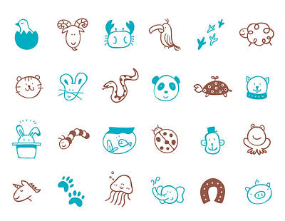 Cats And Dogs Digital Art - Animal Icon Set by Eastnine Inc.