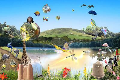 Fantasy Digital Art - Animal Wonderland by Emily Campbell