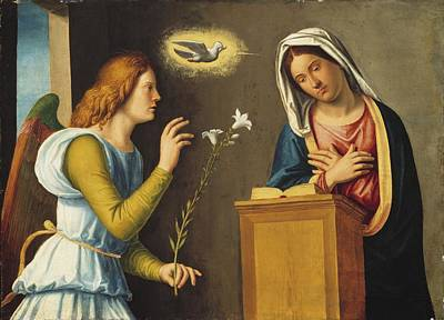 Archangel Photograph - Annunciation To The Virgin by Giovanni Battista Cima da Conegliano