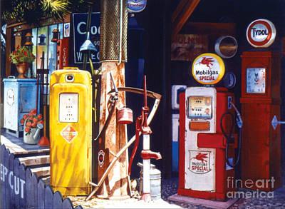 Phil Hopkins Painting - Antique Gas Pumps by Phil Hopkins