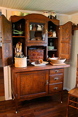 Old Crocks Photograph - Antique Hoosier Cabinet by Carmen Del Valle