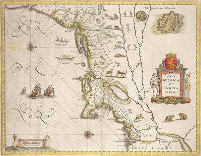 Antique Map Of New Belgium And New England Print by Joan Blaeu