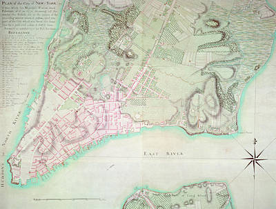 Border Drawing - Antique Map Of New York by English School