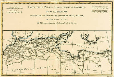 Antique Map Of North Africa Print by Guillaume Raynal