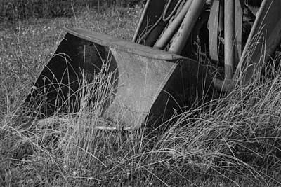Antique Tractor Bucket In Black And White Print by Jennifer Ancker