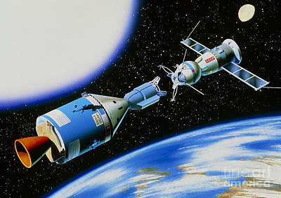 Projects Drawing - Apollo-soyuz Rendevouz In Space by A Gragera and Latin Stock and Photo Researchers