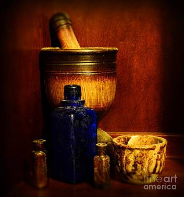 Apothecary - Wood Mortar And Pestle Print by Paul Ward
