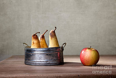 Comparison Photograph - Apple And Pears 01 by Nailia Schwarz